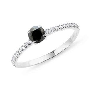 Dámský prstýnek s černým diamantem