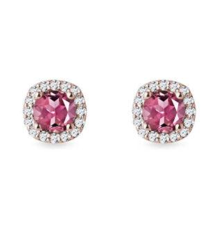 Diamantové náušnice s turmalíny