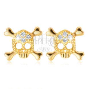 Náušnice ve tvaru lebky ze žlutého zlata
