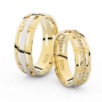 Snubní prsteny ze žlutého zlata osázené brilianty