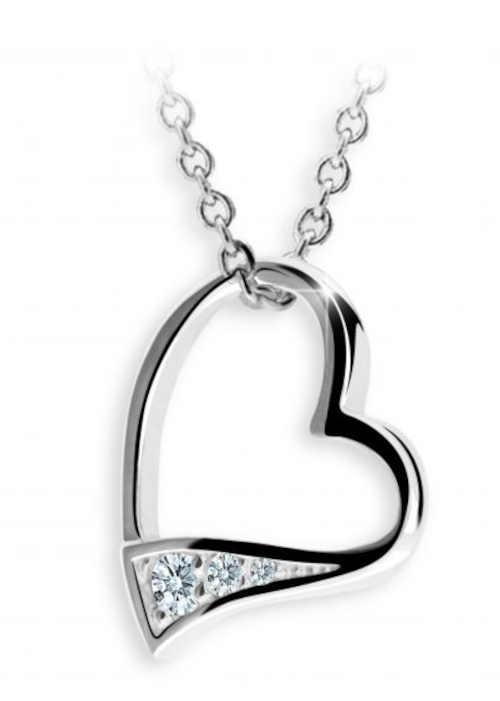 Stříbrný přívěsek s brilianty ve tvaru srdce
