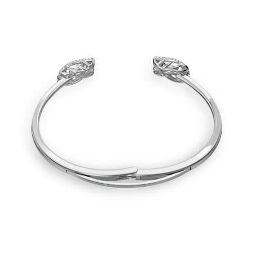 stříbrný otevřený náramek s krystaly Swarovski