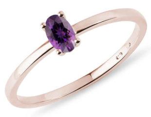 Minimalistický prsten z růžovho zlata s ametystem