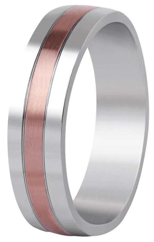 Dvoubarevný snubní prsten Beneto z chirurgické oceli