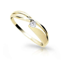 Dámský prsten ze žlutého zlata s briliantem