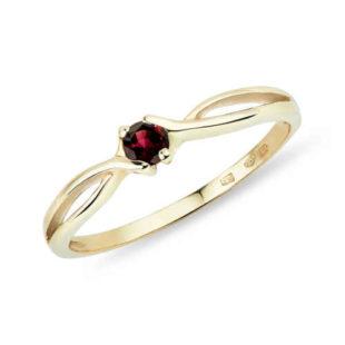 Dámský zlatý prsten s granátem