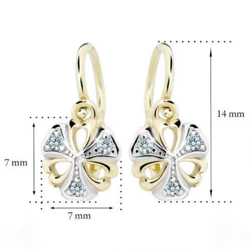 dětské zlaté náušnice s diamantem