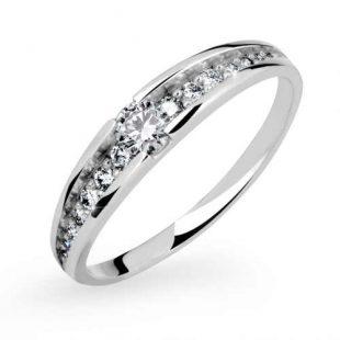 Dámský prsten z bílého zlata s brilianty