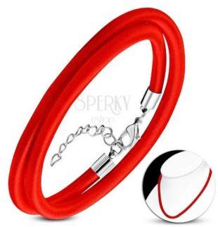 Červený náhrdelník který lze nosit i jako náramek
