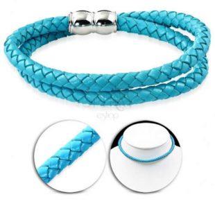 Koženkový pletený náhrdelník světle modré barvy