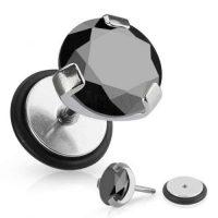Falešný piercing do ucha zdobený černým zirkonem