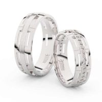 Moderní snubní prsteny z bílého zlata a s brilianty