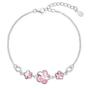 Náramek se Swarovski krystaly růžová kytička
