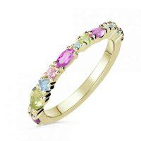 Prsten ze žlutého zlata s barevnými kameny