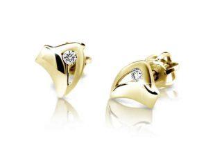 Zlaté náušnice zdobené brilianty