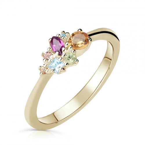 Zlatý dámský prsten s barevnými kameny