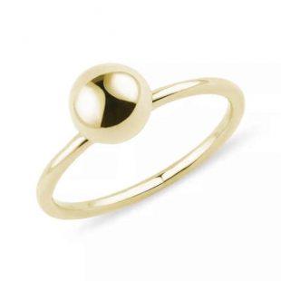 Dámský zlatý prsten s kuličkou