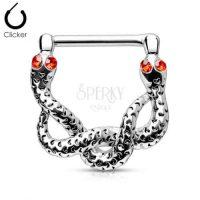 Ocelový piercing do bradavky ve tvaru hada