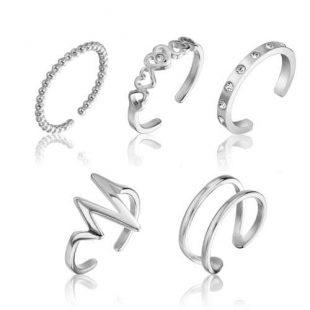 Sada dámských ocelových prstenů
