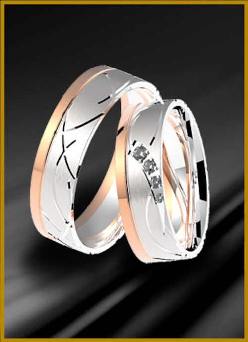 Snubní prsteny z bílého a růžového zlata