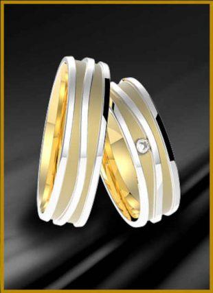 Snubní prsteny z bílého a žlutého zlata