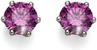 Stříbrné náušnice s fialovými krystaly Swarovski