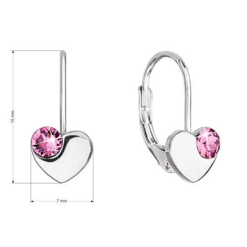náušnice srdce s krystaly Swarovski