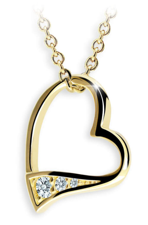Elegantní přívěsek ve tvaru srdíčka ze žlutého zlata zvýrazněný 3 zářivými diamanty