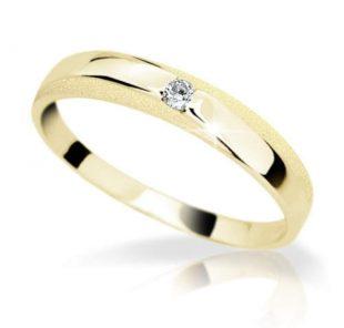 Krásný dámský prsten ze žlutého zlata, s briliantem