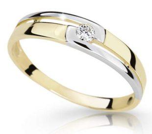 Krásný prsten ze žlutého zlata ozdobený bílým rhodiem a briliantem