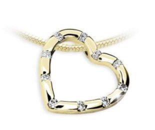 Luxusní zlatý přívěšek ve tvaru srdce s mnoha diamanty
