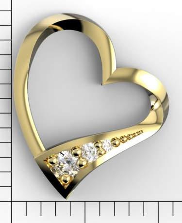 Zlaté srdíčko s diamanty